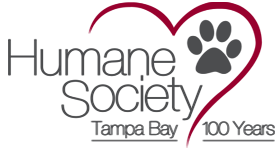 Humane Society of Tampa Bay (Tampa, Florida) logo is the logo name and a pawprint with the outline of a heart