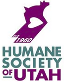 "Humane Society of Utah (Murray, Utah) logo is a dog with a shadow forming a heart with ""EST. 1960"" at the bottom of the shadow"