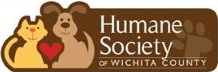 Humane Society of Wichita County, Texas (Wichita Falls, Texas) logo has a dog and cat sitting with a heart between them