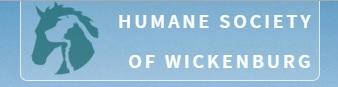 Humane Society of Wickenburg (Wickenburg, Arizona) logo has layered profiles of a cat, dog, and horse next to the org name