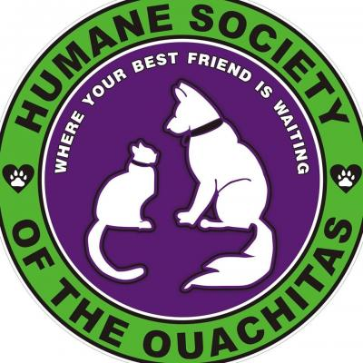 Humane Society of the Ouachitas (Mena, Arkansas) logo dog cat in circle where your best friend is waiting