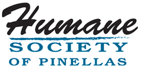 Humane Society of Pinellas (Clearwater, Florida) logo is the organization name in black and blue letters