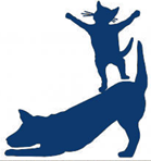 Humane Society of Blue Ridge (Blue Ridge, Georgia) logo is a dog bowing down with a cat dancing on its back