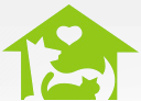 Humane Society of Charlotte (Charlotte, North Carolina) logo is lime green house with a dog and cat inside