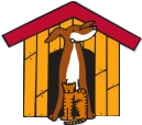 Humane Society of Harris County (Hamilton, Georgia) logo is a dog house with a dog and cat standing in-front