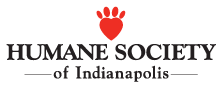 Humane Society of Indianapolis (Indianapolis, Indiana) logo is their name with a red heart made into a paw print