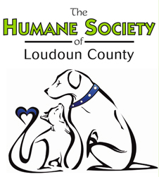 Humane Society of Loudoun County (Leesburg, Virginia) logo has a dog & cat with a heart at the tip of its tail facing each other