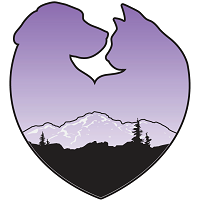 Humane Society of Black Hills (Rapid City, South Dakota) logo is a heart made of a dog and cat with a mountain inside