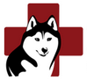 Husky House (Matawan, New Jersey) logo of black & white drawing of husky over red cross
