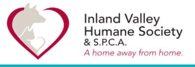 Indland Valley Humane Society & SPCA, Pomona, California, logo red heart with tan dog and cat silhouette with black & Red Text