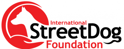 International Street Dog Foundation (Wonder Lake, Illinois) logo of dog silhouette on red circle