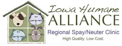 Iowa Humane Alliance (Cedar Rapids, Iowa) logo of dogs, cats and rabbit in house