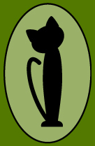 Itty Bitty Kitty Inc (Allentown, Pennsylvania) logo is a dark green rectangle with a lighter green oval and a black cat inside