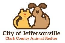 J.B. Ogle Animal Shelter (Jeffersonville, Indiana) logo is a caricature of a dog & cat and their city and county name