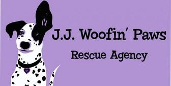 J.J. Woofin' Paws Rescue Agency (Woodland Hills CA) logo purple rectangle, a white & black spotted dog with an ear sticking up