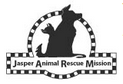 Jasper Animal Rescue Mission (Ridgeland, South Carolina) logo is black/white, dog & cat seated together with a checkered border