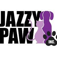 "Jazzy Paw Inc. (Jonesboro, Georgia) logo has a purple dog and cat sitting next to the name with ""Inc."" in a pawprint"