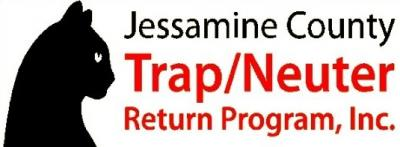 Jessamine County TNR Program (Nicholasville, Kentucky) logo is the profile of a black cat next to the org name