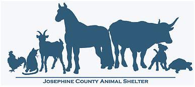 Josephine County Animal Shelter (Grants Pass, Oregon) logo has a chicken, cat, goat, horse, cow, dog, & turtle lined up in a row