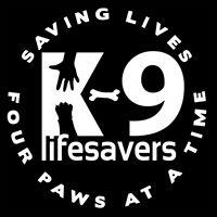 "K-9 Lifesavers (Fredericksburg, Virginia) logo is a ""K"" with a hand & paw & a bone dash plus ""saving lives four paws at a time"""
