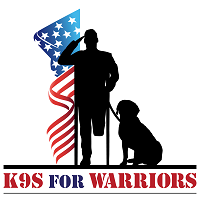 K9s for Warriors (Ponte Vedra, Florida) logo is a sitting dog on a leash held by a wounded soldier next to an American flag