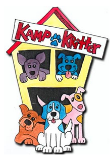 Kamp Kritter (Jacksonville, Florida) logo is a house with the org name on it and three dogs in front and two in the windows