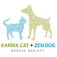 Karma Cat + Zen Dog Rescue Society (East Brunswick, New Jersey) logo has a dog and a cat colored with decorative spirals