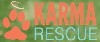 Karma Rescue (Santa Monica, California) logo is a paw print with a halo next to the organization name