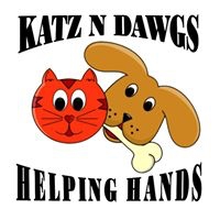 KATZ N DAWGS HELPING HANDS (Hiawassee, Georgia) logo is a cat face and a dog face with a bone surrounded by the org name