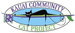 Kauai Community Cat Project (Kapaa, Hawaii) logo is a black cat lying on a surfboard in an oval with the organization name on it
