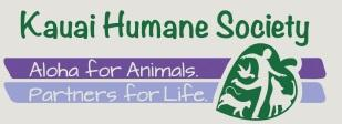 "Kauai Humane Society (Lihue, Hawaii) logo has animals & a person in a leaf next to ""Aloha for the Animals"" & ""Partners for life"""