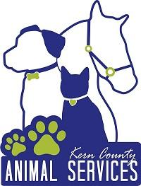 Kern County Animal Services (Bakersfield, California) logo is a dog, cat, and horse above two paw prints and the org name