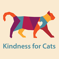Kindness for Cats (Orlando, Florida) logo is a patchwork multi-colored cat with a white heart walking above the org name