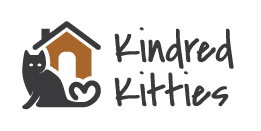 Kindred Kitties (Kenosha, Wisconsin) logo is a cat with its tail forming a heart sitting in front of a house by the org name