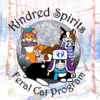 Kindred Spirits Feral Cat Program (Montrose, Pennsylvania) logo has cats in a snowy forest wearing winter hats and scarves
