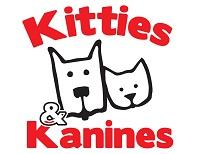 "Friends of Kitties & Kanines (Fort Smith, Arkansas) logo outline drawing of dog & cat face with red ""Kitties & Kanines"""