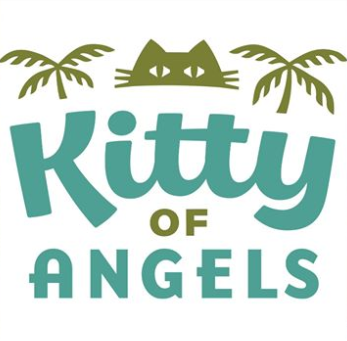 Kitty of Angels (Sherman Oaks, California) logo is green cat face in between palm trees above name