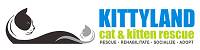 Kittyland (Desert Hot Springs, California) logo of two cat silhouettes text of Kittyland cat & kitten rescue text