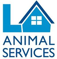 Los Angeles Animal Services NKLA (Los Angeles, California) logo of letters LA with house and Animal Services in blue and white