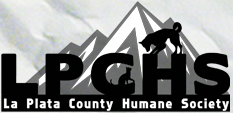 La Plata County Humane Society (Durango, Colorado) logo of mountain, dog, cat, La Plata County Humane Society text LPCHS