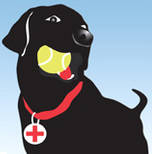 Labradors and Friends (San Diego, California) | logo of black dog, tennis ball, red collar with Labradors + Friends Dog Rescue