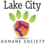 Lake City Humane Society (Lake City, Florida) logo is a colorful pawprint with a cat and dog profile inside