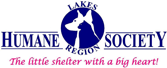 "Lake Region Humane Society (Ossipee, New Hampshire) logo is the org name with ""the little shelter with the big heart"" tagline"