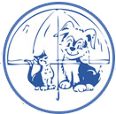 Lakeshore Humane Society (Manitowoc, Wisconsin) logo is a dog and cat under an umbrella in a circle
