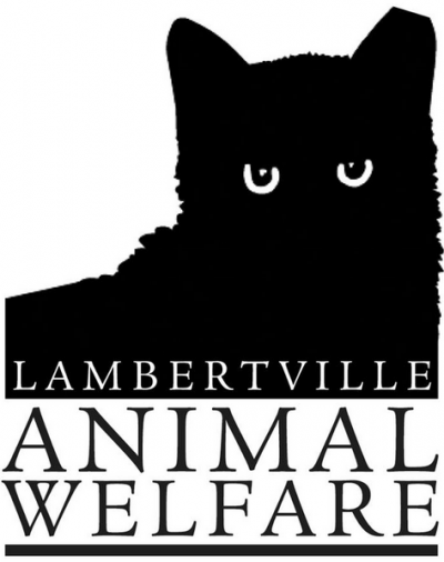 Lambertville Animal Welfare (Lambertville, New Jersey) logo is a black cat with the org name below it