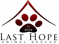 Last Hope Animal Rescue (Cedar Rapids, Iowa) logo of paw, roof, established 2004 and Last Hope Animal Rescue text