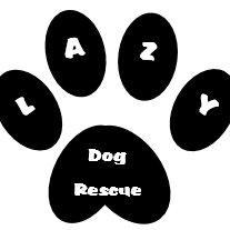 """Lazy Dog Rescue (Valley Center, California) logo is a pawprint with """"LAZY"""" in the toes and """"Dog Rescue"""" in the paw pad"""