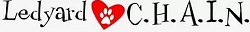 Ledyard C.H.A.I.N. Inc (Ledyard, Colorado) logo of red heart with paw and text Ledyard C.H.A.I.N.
