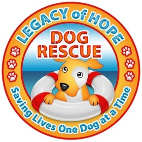 Legacy of Hope Dog Rescue (Broken Arrow, Oklahoma) logo is a dog in a life preserver inside a circle with the name & pawprints