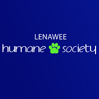 "Lenawee Humane Society (Adrian, Michigan) logo is the organization name with a pawprint between ""Humane"" and ""Society"""